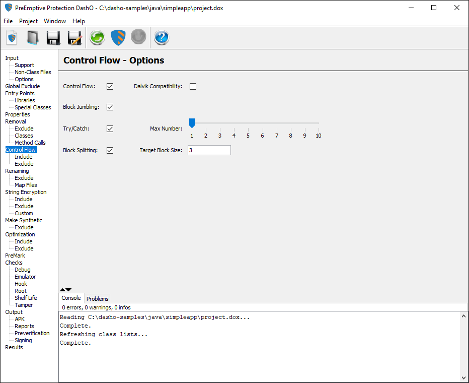 Control Flow User Interface - PreEmptive Protection DashO