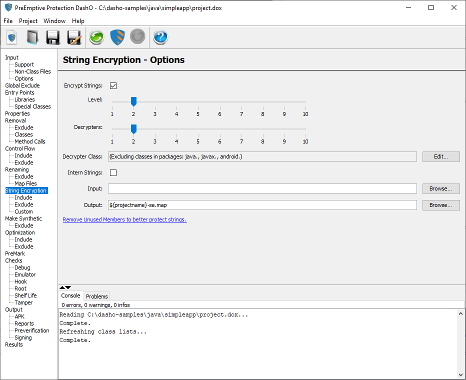 String Encryption User Interface - PreEmptive Protection