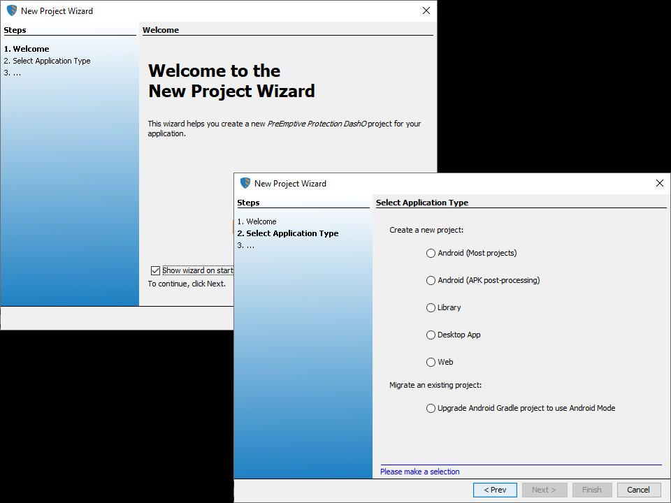 New Project Wizard - DashO 9 3